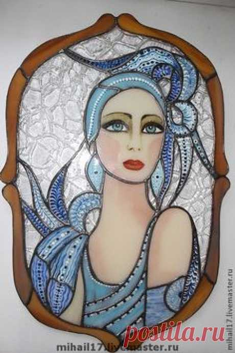 """Handwork interior elements. A fair of Masters - handwork. To buy the Stained glass panel in the technician Tiffany \""""Stranger\"""". Handmade. Blue"""
