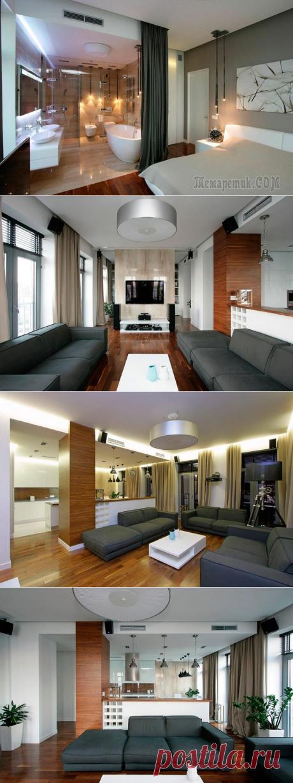 Design of the modern apartment in beige tones