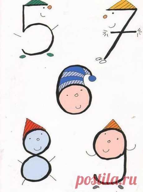 Необычное рисование с помощью цифр — Поделки с детьми