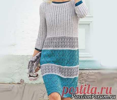 Платье с сочетанием ажурных узоров | Вязание для женщин спицами. Схемы вязания спицами