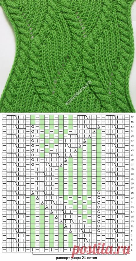 узор 346 косы с патентным узором | каталог вязаных спицами узоров