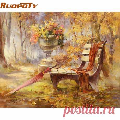 RUOPOTY стул парк осенний пейзаж DIY живопись по номерам стены Книги по искусству картина расписанную картина маслом для домашнего декора Frame 40x50 купить на AliExpress