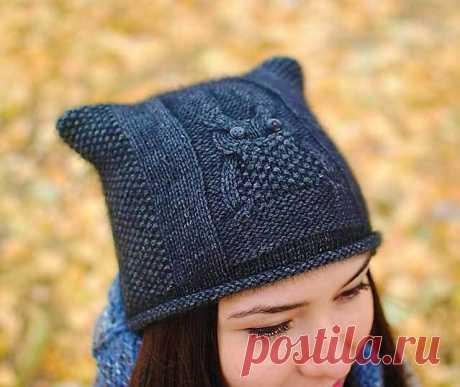 Чудесная шапка Сова спицами — поэтапное руководство по вязанию | Вязание Шапок - Модные и Новые Модели
