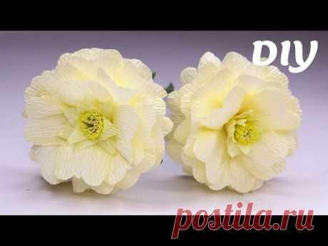 Цветы из гофрированной бумаги / Crepe paper flowers / Flores de papel crepé - YouTube  Сегодня покажу как сделать красивый весенний цветок из гофробумаги.