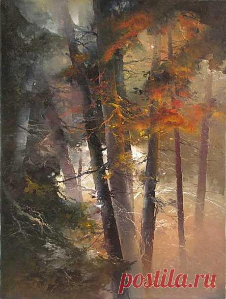 Петрас Лукосиус (Petras Lukosius) — литовский художник, сочетающий любовь к сакральным моментам природного величия со страстью к любованию потоками света, льющимися сквозь цветное стекло.  По крайней мере, работы этого литовского художника выглядят именно как синтез двух этих искренних привязанностей. И лес и толщи воды выглядят у Лукосиуса многослойными стеклянными виражами, сквозь которые свет льётся, сочится, струится, эпитетов не счесть.
