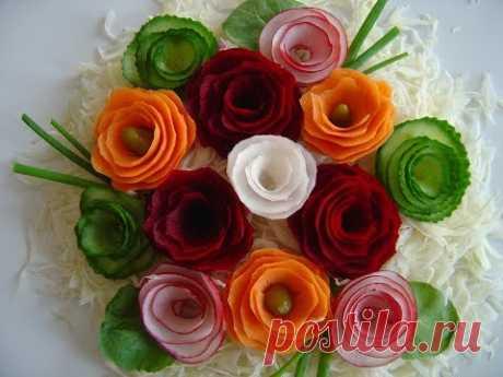 Как быстро сделать цветы из овощей, украшениe блюд.