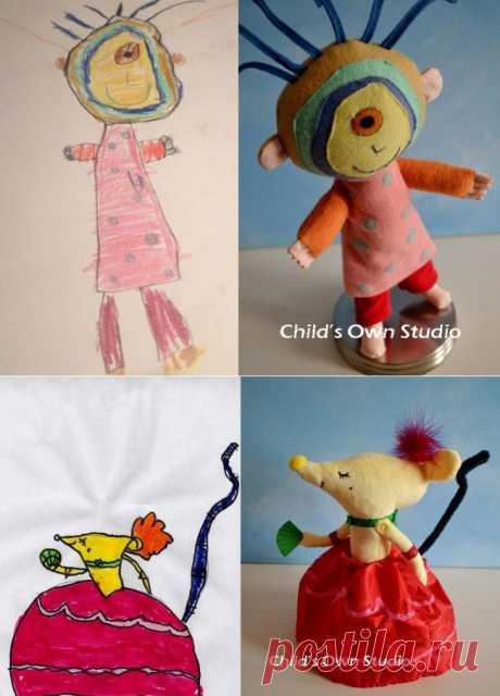 Игрушки, сшитые порисункам детей/adme.ru