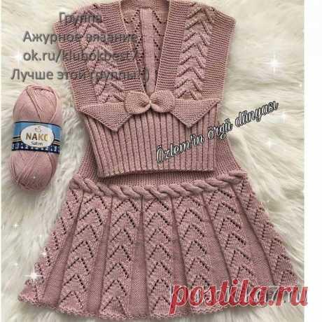 Платье спицами для девочки | Клубок