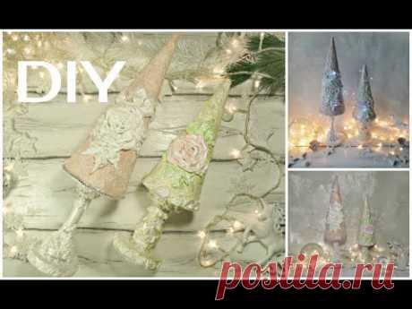 Елочки с розами Новогодний декор  #Christmas #Christmastree #newyeardecor - YouTube