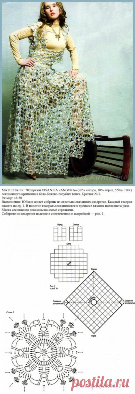 """La labor de punto chiné, la falda y el chaleco »el Sitio """"Ручками"""" - hacemos las cosas por las manos"""