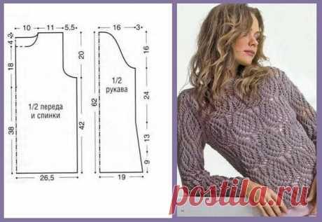 Вязание спицами - Джемпера спицами - Ажурный пуловер спицами с очень интересным узором