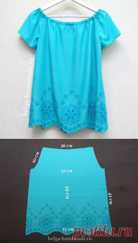 Летняя блузка по простой выкройке. Выкройка на размер 42-44.