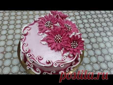 Торт с новыми цветами