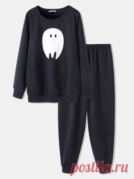 Plus Size Women Halloween Cartoon Ghost Print Long Sleeve Elastic Waist Jogger P - US$23.99