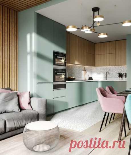 Проект кухни, совмещенной с гостиной в 21 кв.м.