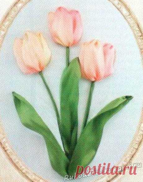 Как вышить тюльпаны лентами своими руками.