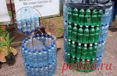 А у вас есть мусорный бак из пластиковых бутылок?   Своими руками (Усадьба)