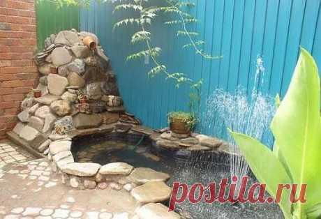 Водоем на даче своими руками с фонтаном, горным ручьем и подсветкой. Фото