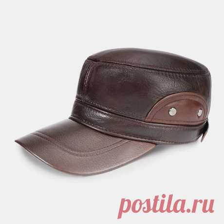Men Genuine Leather Large Brim Keep Warm Plus Thickness Cotton Windproof Ear Pro - US$37.99