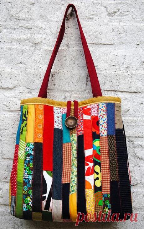 Лоскутная сумка - шоппер или сумка - пакет. Идеи для шитья, а также схемы и выкройки сумок.  Из лоскутов в последнее время модно делать сумки. Есть много способов их сшить. Здесь мы представляем идеи для рукоделия.