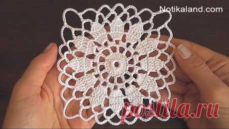 Crochet Easy Flower Square Motif #3