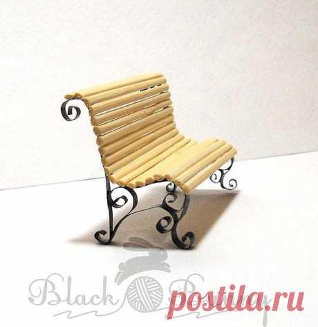 Мастер-класс: Миниатюрная скамейка для мини-сада