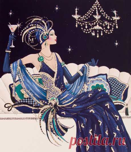 I give the toast to drink for your health the girlfriend! | Art Deco Lady