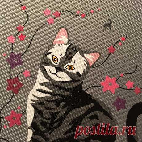 Матильда собственной кошачьей персоной #сумкаскршкой #сераясумка #сумкиназаказ #заказатьсумку #росписьнасумке #мода #роспись #сумкасросписью #artmsweet #красота