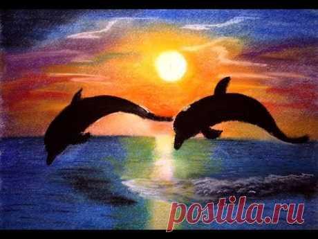 """Онлайн-урок рисования сухой пастелью.  """"Дельфины""""."""