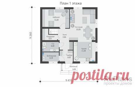 Rg5534 - Проект одноэтажного жилого дома с мансардой