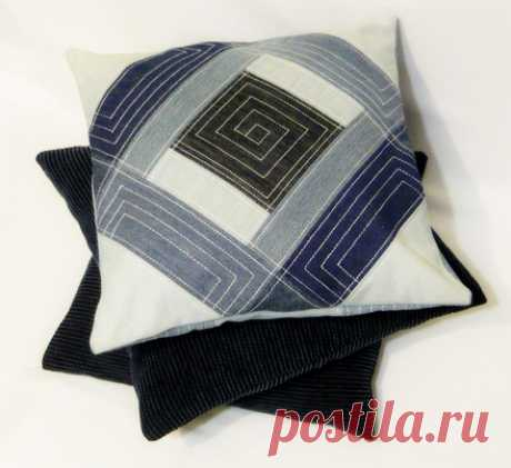 Throw pillow from jeans in style a patchwork | All about fashion, style, sewing and needlework MERGE of STYLES