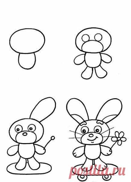 Учимся рисовать:  Зайчик