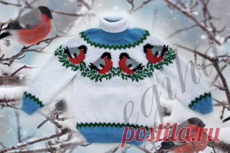 """Two children's sweaters spokes on a New Year's subject: """"Снегири on снегу"""" and traditional Jacquard"""