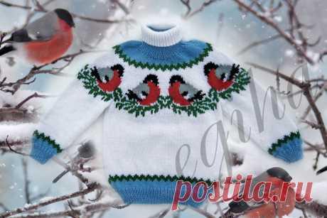"""Два детских свитера спицами на новогоднюю тему: """"Снегири на снегу"""" и традиционный жаккард"""