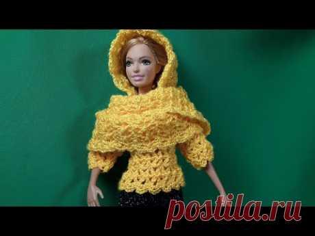 Шарф-капюшон для Барби. Мастер-класс. Crochet Barbie.