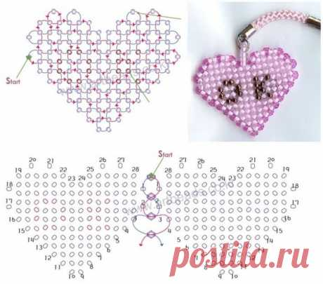 Hand-made article a heart - beadworks \/ Schemes of weaving by beads, flowers and trees from beads, toys the hands - masterklassa, a macrame, frivolita \/ Yozhka - verses, riddles, creativity and lessons of drawing for children