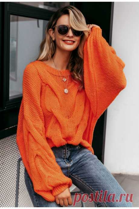 Hollow out mohair women pullover sweater Autumn winter lantern sleeve - idetsnkf