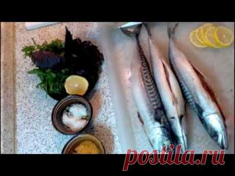 Mackerel on a grill - YouTube