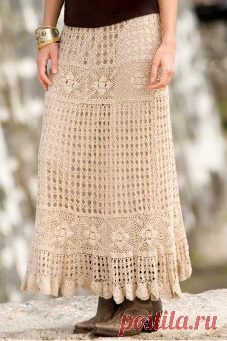 Длинная юбка вязаная крючком |