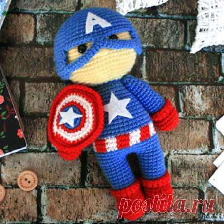 Капитан Америка вязаный крючком: бесплатная схема вязания
