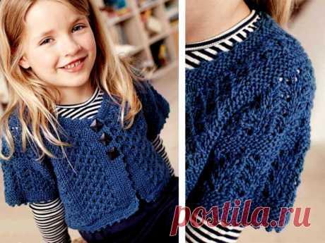 Небольшой жакет с коротким рукавом для девочки (Вязание спицами) – Журнал Вдохновение Рукодельницы