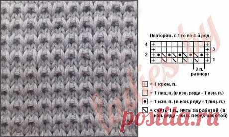 Крупный узор спицами для вязания пуловера 1 ряд — чередовать 1 лицевая петля, 1 петлю снять, нить за работой;  2 ряд — 1 изнаночная петля, 1 петлю снять, нить перед работой;  3 и 4 ряд — лицевая гладь