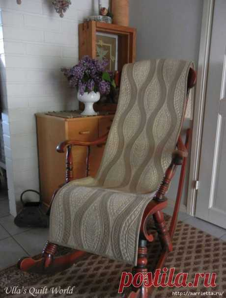Стеганая накидка для кресла в технике пэчворк
