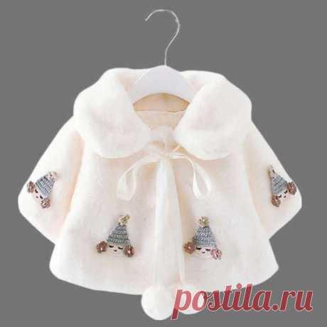 Стильное пальто для маленьких девочек с капюшоном с аппликацией и декором из помпонов для маленьких девочек
