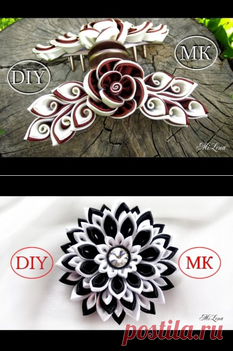 (256) Резинки канзаши, МК / DIY Scrunchy with Kanzashi flower / Black & White Ribbon Flowers - YouTube
