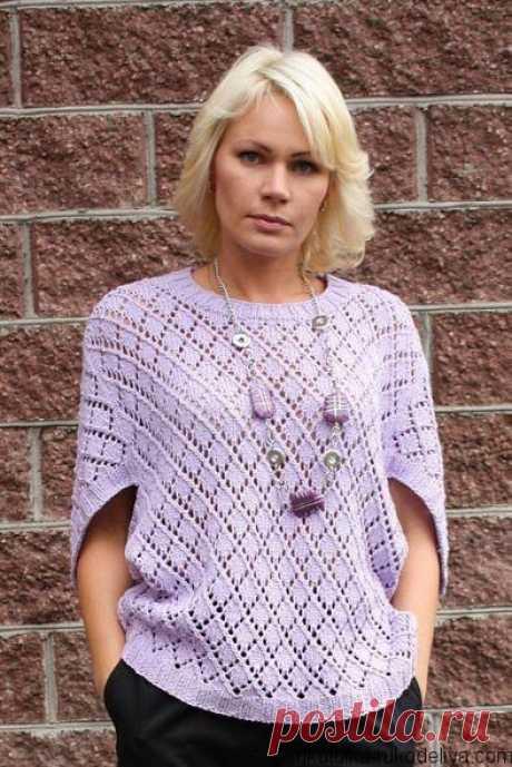 Пуловер конверт спицами Оригинальный летний пуловер спицами. Схемы и выкройка для стильного жакета спицами