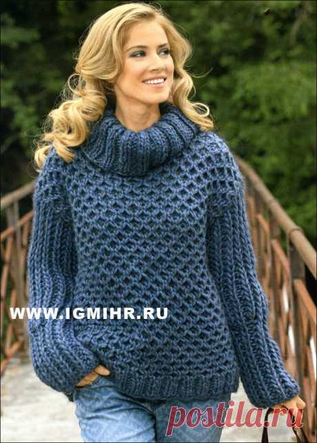 МОДА SIZE PLUS. Для осенне-зимнего гардероба. Объемный синий свитер с узором из сот. Спицы