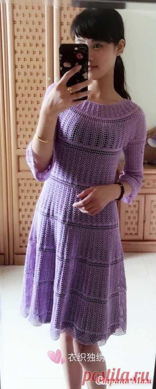 . La variante universal. El vestido color lila. - todo en azhure... (La labor de punto por el gancho) - el País de las Mamás