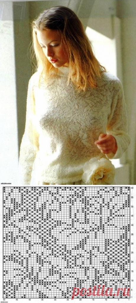 Пуловер спицами или крючком