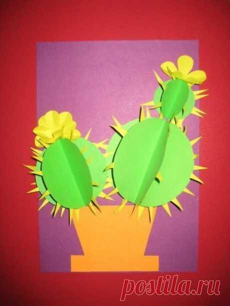 Аппликация из бумаги. Цветущий кактус.